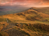 Sunrise Light on the Great Ridge, Hope Valley, Peak District National Park, Derbyshire, England, UK Photographic Print by Ian Egner
