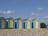 Five Blue Beach Huts with Yellow Doors, Littlehampton, West Sussex, England, United Kingdom, Europe Photographic Print by James Emmerson