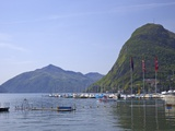 View of Monte San Salvador from the Lido, Lugano, Lake Lugano, Ticino, Switzerland, Europe Photographic Print by Peter Barritt