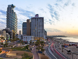 Elevated Dusk View of the City Beachfront, Tel Aviv, Israel, Middle East Photographic Print by Gavin Hellier