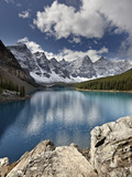 Moraine Lake in Fall with Fresh Snow, Banff Nat&#39;l Park, UNESCO World Heritage Site, Alberta, Canada Photographic Print by James Hager