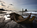 Old Wreck and Black Nab at Saltwick Bay, Near Whitby, North Yorkshire, Yorkshire, England, UK Photographic Print by Mark Sunderland
