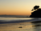 Lovers Silhouette at Sunset on the Ocean, Santa Barbara, California, USA, North America Photographic Print by Antonio Busiello