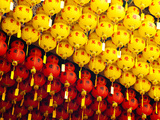 Brightly Coloured Yellow and Red Chinese Lanterns at Kek Lok Si Temple, Penang, Malaysia Photographic Print by Matthew Williams-Ellis