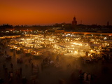 View at Sunset across DJemaa el Fna, Marrakech, Morocco, North Africa, Africa Photographic Print by Ian Egner