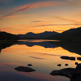 View of the Snowdon Horseshoe at Sunset from Llynau Mymbyr, Capel Curig, Wales, UK, Europe Photographic Print by Ian Egner