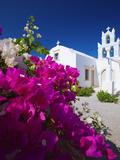 Greek Church and Flowers, Santorini, Cyclades, Greek Islands, Greece, Europe Fotografisk trykk av Sakis Papadopoulos