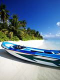 A Small Dinghy on a Tropical Beach, Maldives, Indian Ocean, Asia Photographic Print by Sakis Papadopoulos