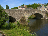 View of Old Town Houses and Old Bridge over Rance River, Dinan, Cotes D'Armor, Brittany, France Photographic Print by Guy Thouvenin