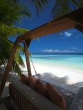 Swing on Tropical Beach, Maldives, Indian Ocean, Asia Photographie par Sakis Papadopoulos