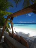 Swing on Tropical Beach, Maldives, Indian Ocean, Asia Fotografie-Druck von Sakis Papadopoulos