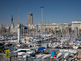 View of Port Vell Showing Columbus Monument, Barcelona, Catalonia, Spain, Europe Photographic Print by Adina Tovy
