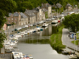 Boats and Houses Along the Banks of the River Rance, Dinan, Cotes D'Armor, Brittany, France, Europe Photographic Print by Guy Thouvenin