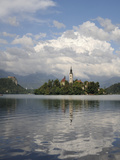 St. Mary of the Assumption Church and Bled Castle, Bled Island, Lake Bled, Slovenia, Slovenianan Photographic Print by Nick Upton