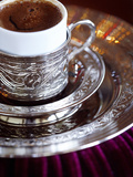 Turkish Coffee Served in Ornate Silver Cup and Dish, Turkey, Eurasia Photographic Print by Sakis Papadopoulos