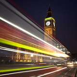 Traffic Light Trails in Front of Big Ben, Houses of Parliament, London, England, UK, Europe Photographic Print by Ian Egner