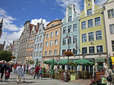 Colourful Building Facades on Long Market (Dlugi Targ) Showing Town Hall, Gdansk, Pomerania, Poland Photographic Print by Adina Tovy