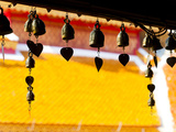 Close Up of Prayer Bells Silhouetted Against Colourful Roof at Wat Doi Suthep, Chiang Mai, Thailand Photographic Print by Matthew Williams-Ellis