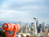 Telescope with View of Seattle Skyline in Distance, Kerry Park, Seattle, Washington State, USA Photographic Print by Aaron McCoy