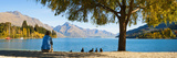 Panorama of Tourist Relaxing by Lake Wakatipu in Autumn at Queenstown, Otago, New Zealand Photographic Print by Matthew Williams-Ellis