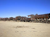 Rusting Old Steam Locomotives at the Train Cemetery (Train Graveyard), Uyuni, Southwest, Bolivia Photographic Print by Simon Montgomery