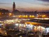 View over Market Square at Dusk, Place Jemaa el Fna, Marrakesh, Morocco, North Africa, Africa Photographic Print by Frank Fell