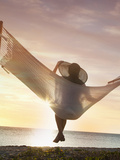 Woman on a Hammock on the Beach, Florida, United States of America, North America Photographic Print by Angelo Cavalli