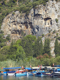 Lycian Tombs of Dalyan with Boats Below, Dalyan, Anatolia, Turkey, Asia Minor, Eurasia Photographic Print by Sakis Papadopoulos