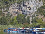 Lycian Tombs of Dalyan with Boats Below, Dalyan, Anatolia, Turkey, Asia Minor, Eurasia Photographic Print by Sakis Papadopoulos