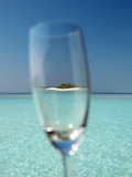 Glass and Tropical Island, Maldives, Indian Ocean, Asia Photographic Print by Sakis Papadopoulos