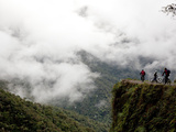 Mountain Bikers on World's Most Dangerous Road, La Paz to Coroico Road, Yungas, La Paz, Bolivia Photographic Print by Phil Clarke-Hill