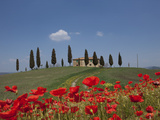 Country Home and Poppies, Near Pienza, Tuscany, Italy, Europe Photographic Print by Angelo Cavalli