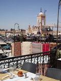 Rooftop Terrace and Minarets, Place Jemaa el Fna, Marrakesh, Morocco, North Africa, Africa Photographie par Frank Fell