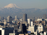 View over City of Tokyo and Mount Fuji, Tokyo, Japan, Asia Photographic Print by Olivier Goujon