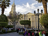 Plaza de Armas, Arequipa Cathedral in Background, Arequipa, Peru, South America Photographic Print by Simon Montgomery