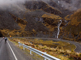 Mountain Bikers on World's Most Dangerous Road, La Paz to Coroico Road, Yungas, La Paz, Bolivia Fotoprint van Phil Clarke-Hill