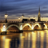 River Garonne and Pont de Pierre at Dusk, Bordeaux, Aquitaine, France, Europe Photographic Print by Stuart Black