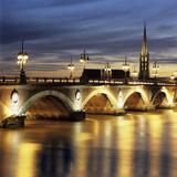River Garonne and Pont de Pierre at Dusk, Bordeaux, Aquitaine, France, Europe Photographic Print by Stuart Black