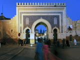 Blue Tiled Archway of the Bab Bou Jeloud City Gate to Medina, Fez, Middle Atlas, Morocco, Africa Photographic Print by Gavin Hellier
