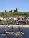 Pleasure Ship Below Whitby Abbey and St. Marys Church, Whitby, North Yorkshire, Yorkshire, England Photographic Print by Mark Sunderland