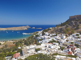 Lindos and the Acropolis, Rhodes, Dodecanese, Greek Islands, Greece, Europe Photographic Print by Sakis Papadopoulos