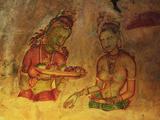 Frescoes, Sigiriya (Lion Rock), UNESCO World Heritage Site, Sri Lanka, Asia Fotografisk tryk af Jochen Schlenker