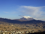 View over La Paz with Mount Illimani in the Background, Bolivia, South America Photographic Print by Simon Montgomery