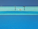 Infinity Pool and Hammock in Lagoon, Maldives, Indian Ocean, Asia Photographic Print by Sakis Papadopoulos