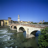 Ponte Pietra and the River Adige, Verona, UNESCO World Heritage Site, Veneto, Italy, Europe Photographic Print by Stuart Black
