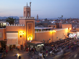 Mosque at Dusk, Place Jemaa el Fna, Marrakesh, Morocco, North Africa, Africa Photographic Print by Frank Fell