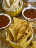 Nachos (Totopos) (Tortilla Chips) with Chili Sauce, Mexican Food, Mexico, North America Photographic Print by Nico Tondini