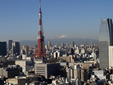 Tokyo Tower, City Skyline and Mount Fuji Beyond, Tokyo, Japan, Asia Photographic Print by Olivier Goujon