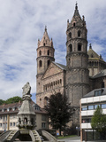 New Romanesque Cathedral of St. Peter, from Marktplatz, by Siegfried Fountain, Worms, Germany Photographic Print by James Emmerson