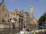 Canal with Tour Launch, Flemish Gables, Belfry Tower, Brugge, UNESCO World Heritage Site, Belgium Photographic Print by James Emmerson